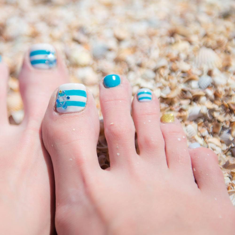 Blue Striped Toe Nails