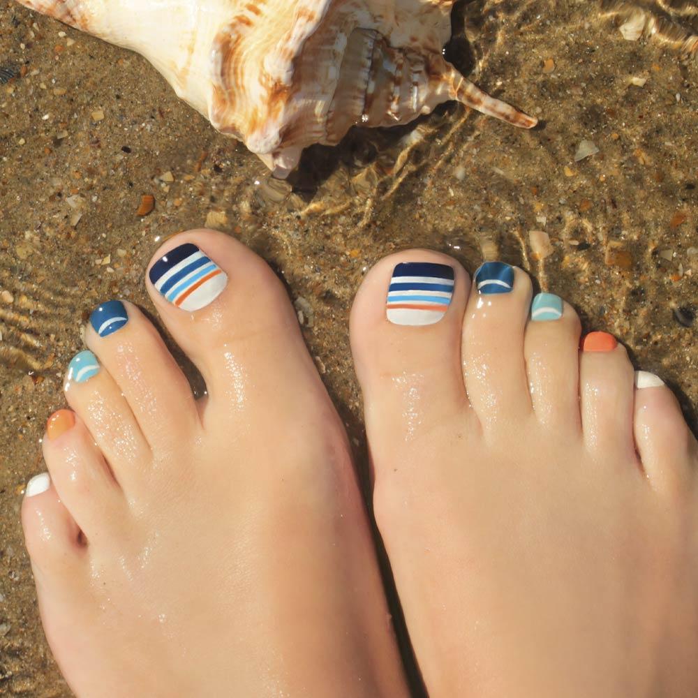 Striped Toe Nail Design
