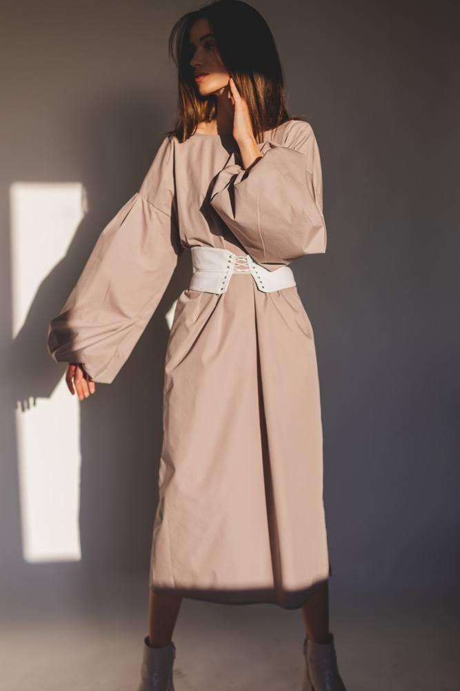 Long Beige Dress with Corset Belt