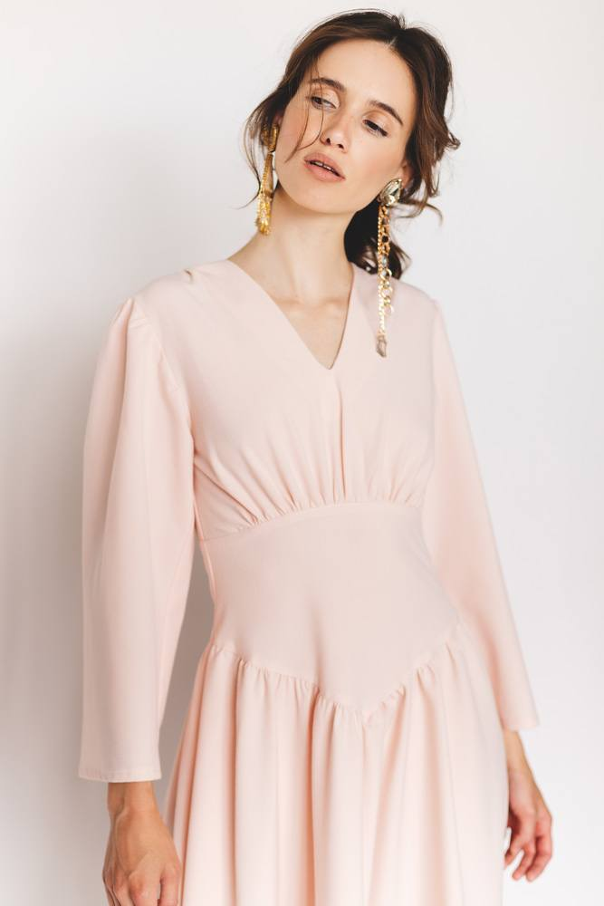 Long Sleeved Dress with Fake Corset
