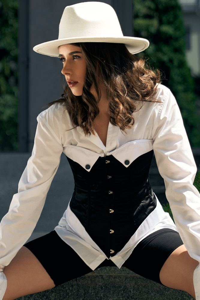 White and Black Outfits with Corset
