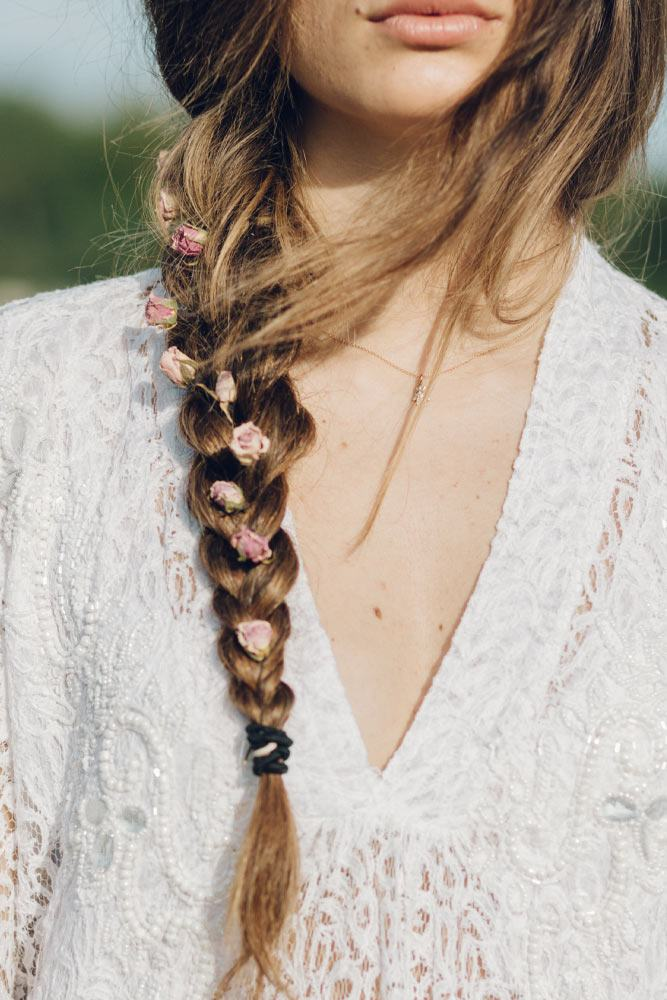 Easy Hairstyle with Side Braid and Flowers