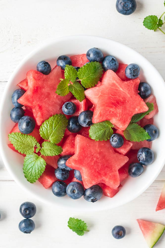 Fruit Dessert with Watermelon and Blueberry