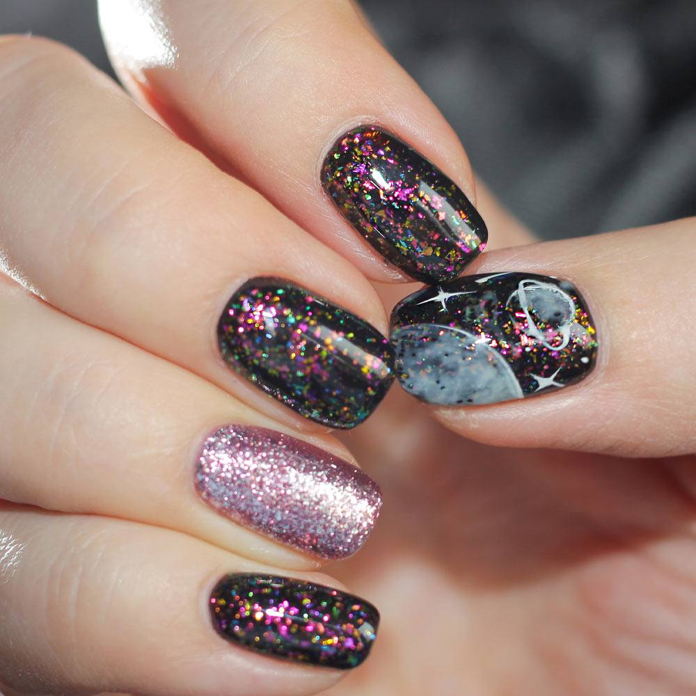 Galaxy Nails with Planet Art
