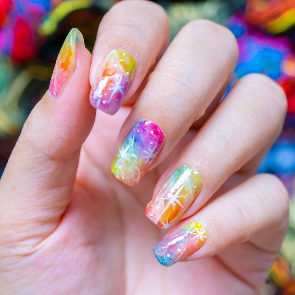 Pastel Colored Galaxy Nails