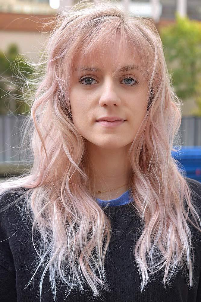 Pastel Pink Wavy Hair with Bangs