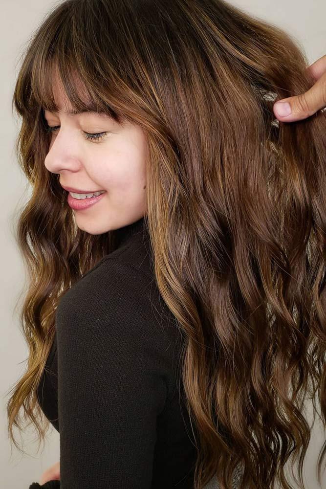 Brown Wavy Hair with Bangs