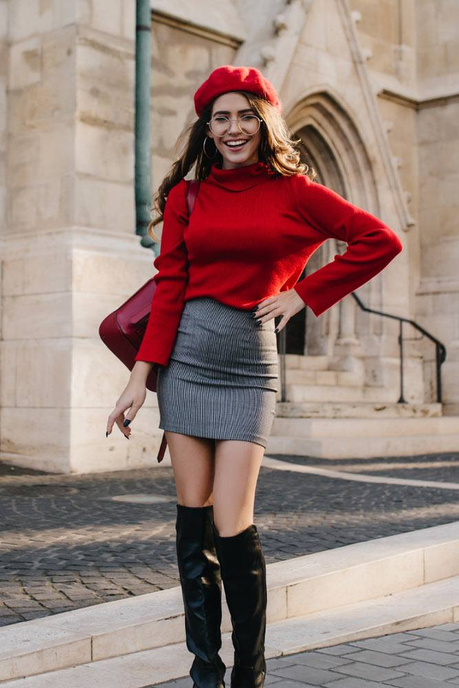 Mini Skirt with OTK Boots Outfits