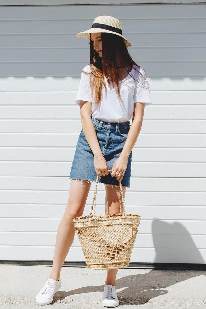 Denim Mini Skirt with White T-shirt Outfit Idea