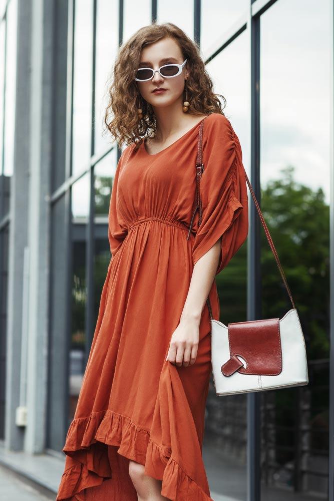 Red Ruffled Midi Dress