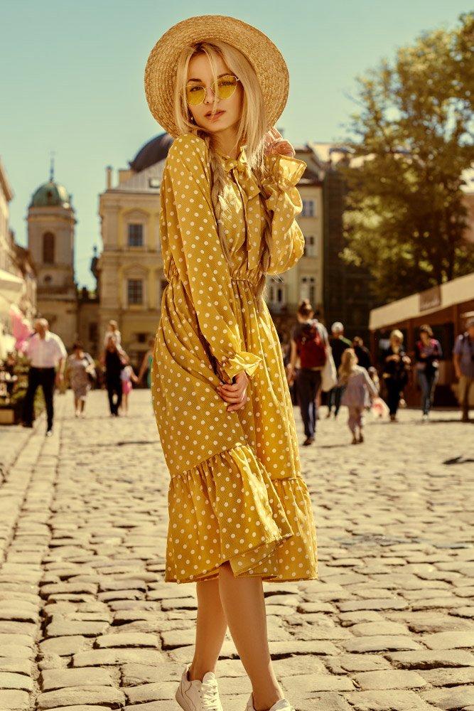 Yellow Midi Dress with Polka Dots