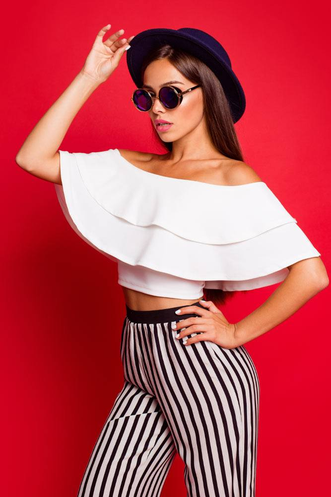 Off The Shoulder Ruffled Top with Striped Pants
