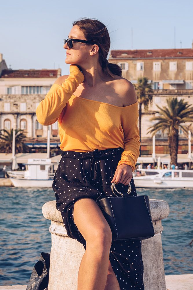 Long Sleeved Off The Shoulder Top with Long Skirt