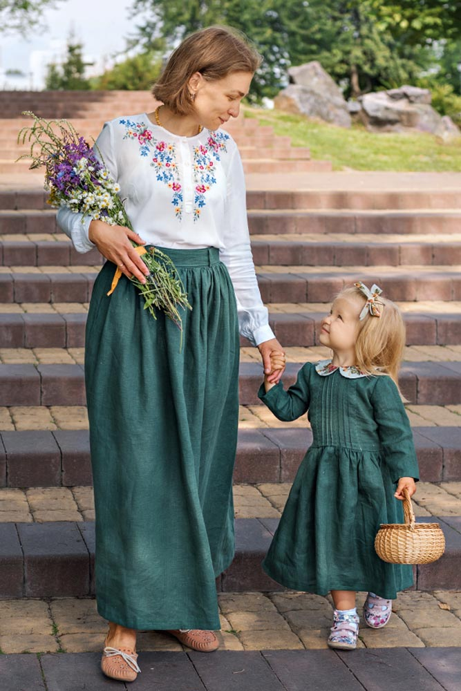 Embroidered Vintage Outfits for Mom and Kid