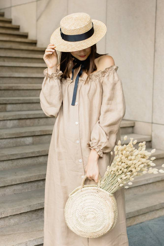 Off the Shoulder Dress with Hat