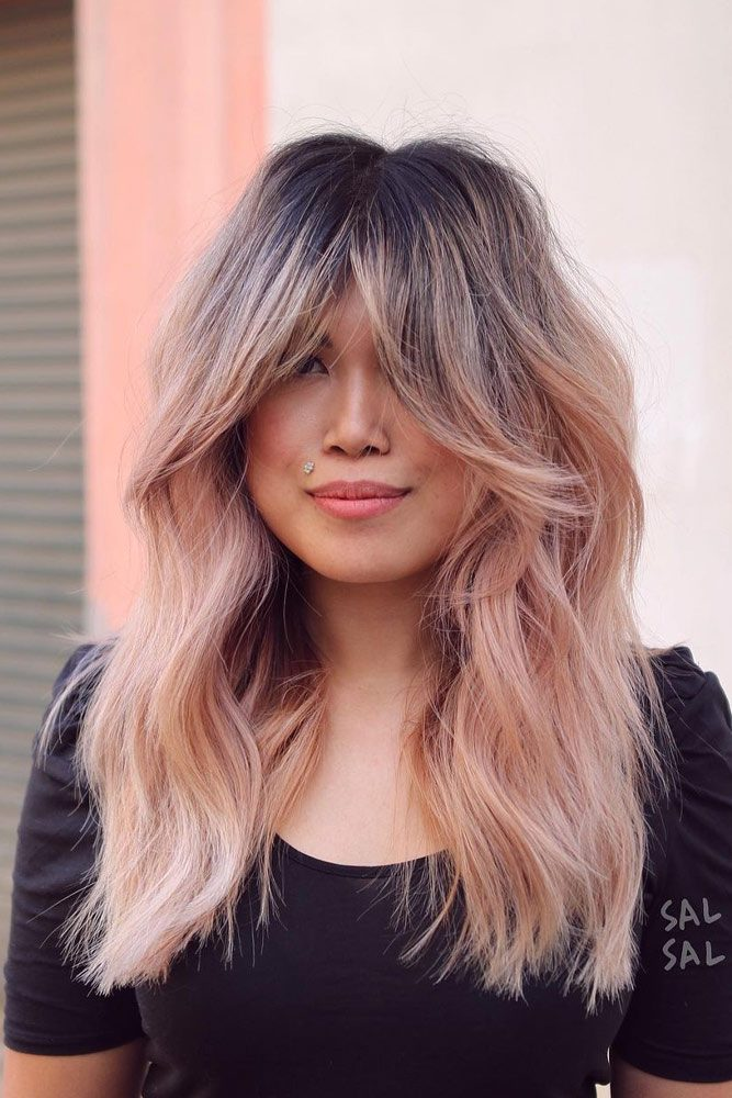 Rose Gold Hair with Curtain Bangs