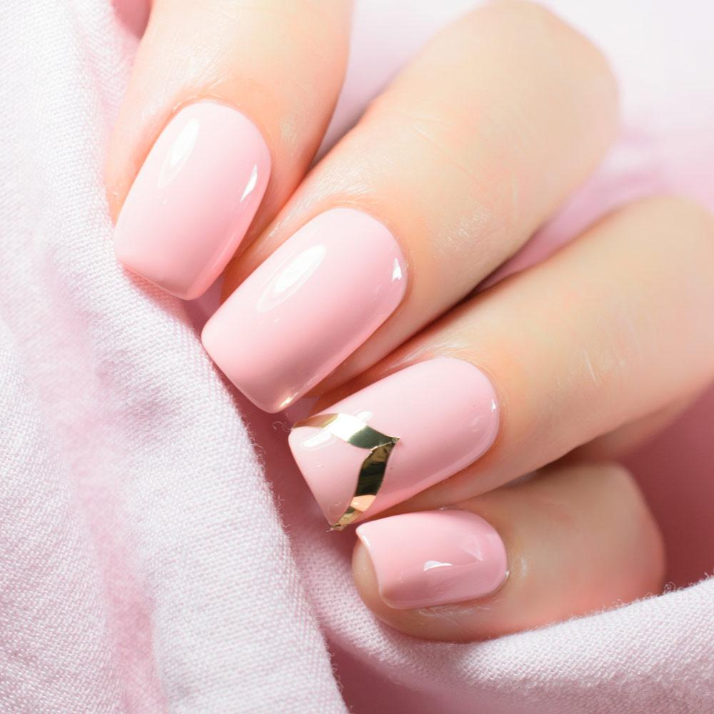 Easy Pink Nails Design with Sticker