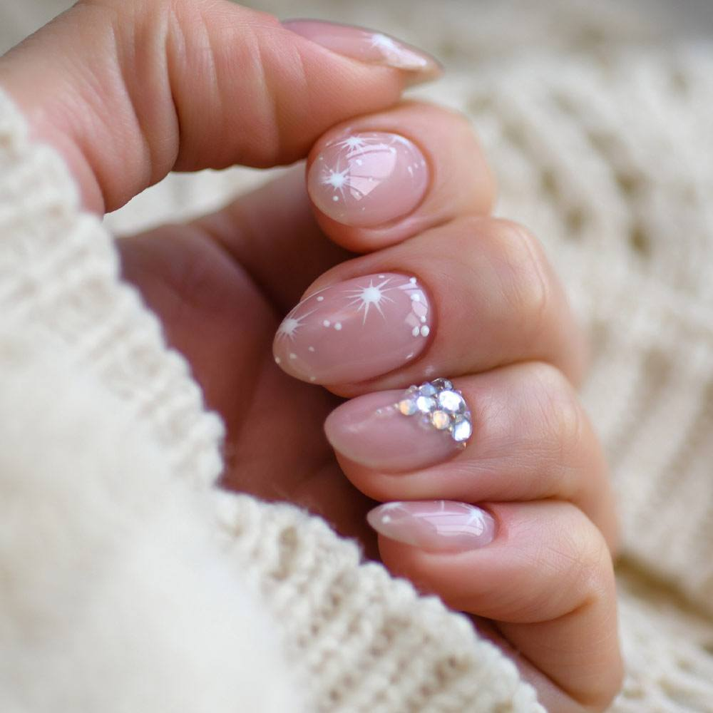 Almond Pink Nails with Rhinestones