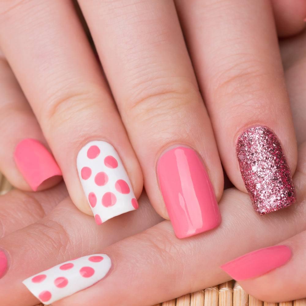 Pink Nails with Polka Dot Nail