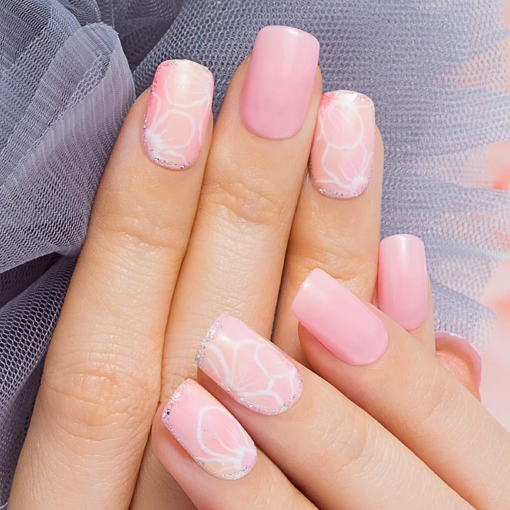Floral Pink Nails