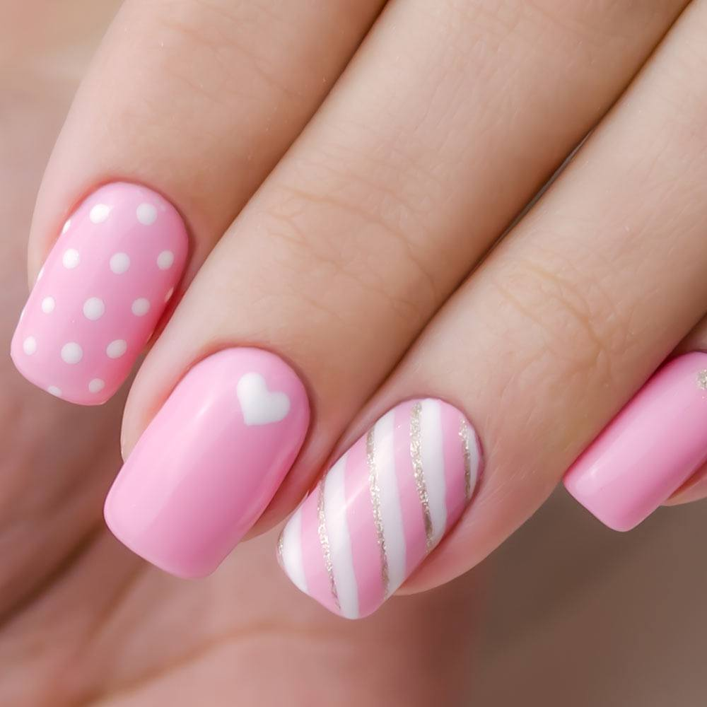 Patterned Pink Nails