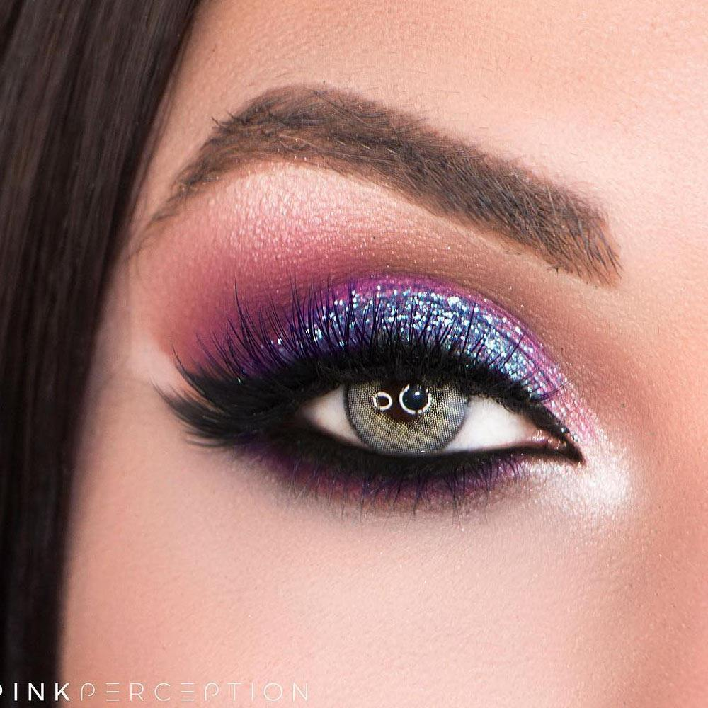 Bright Summer Makeup with Purple Glitter