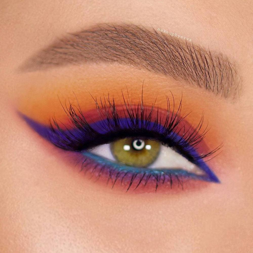 Juicy Colorful Summer Makeup with Blue Eyeliner