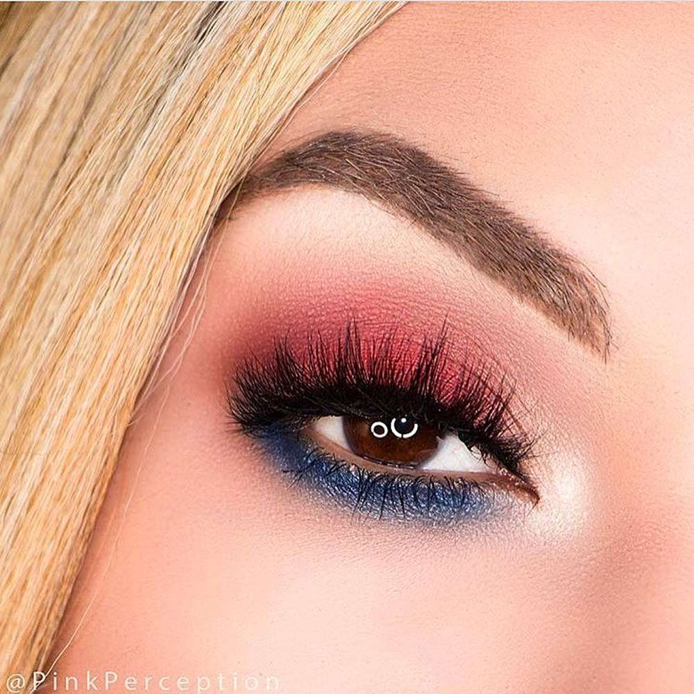 Red and Blue Makeup Idea