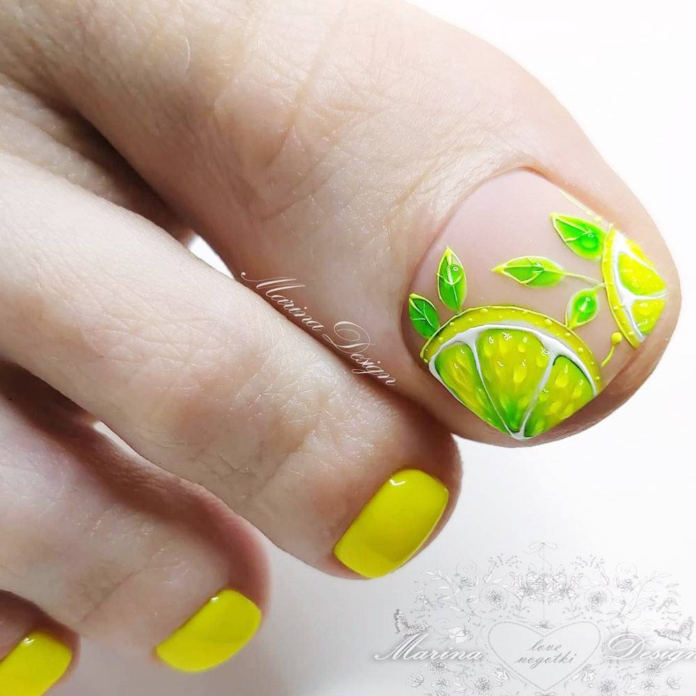 Lime Art Toe Nail Design