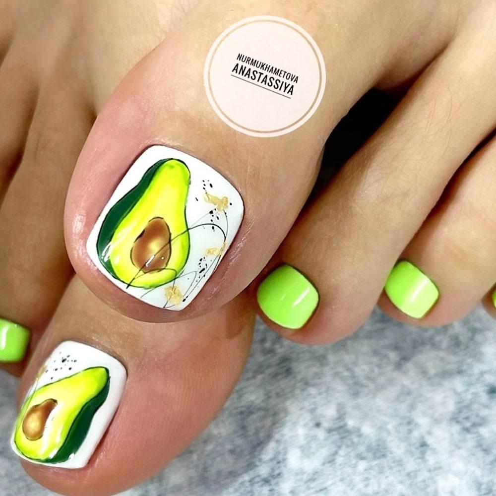 Avocado Toe Nail Art