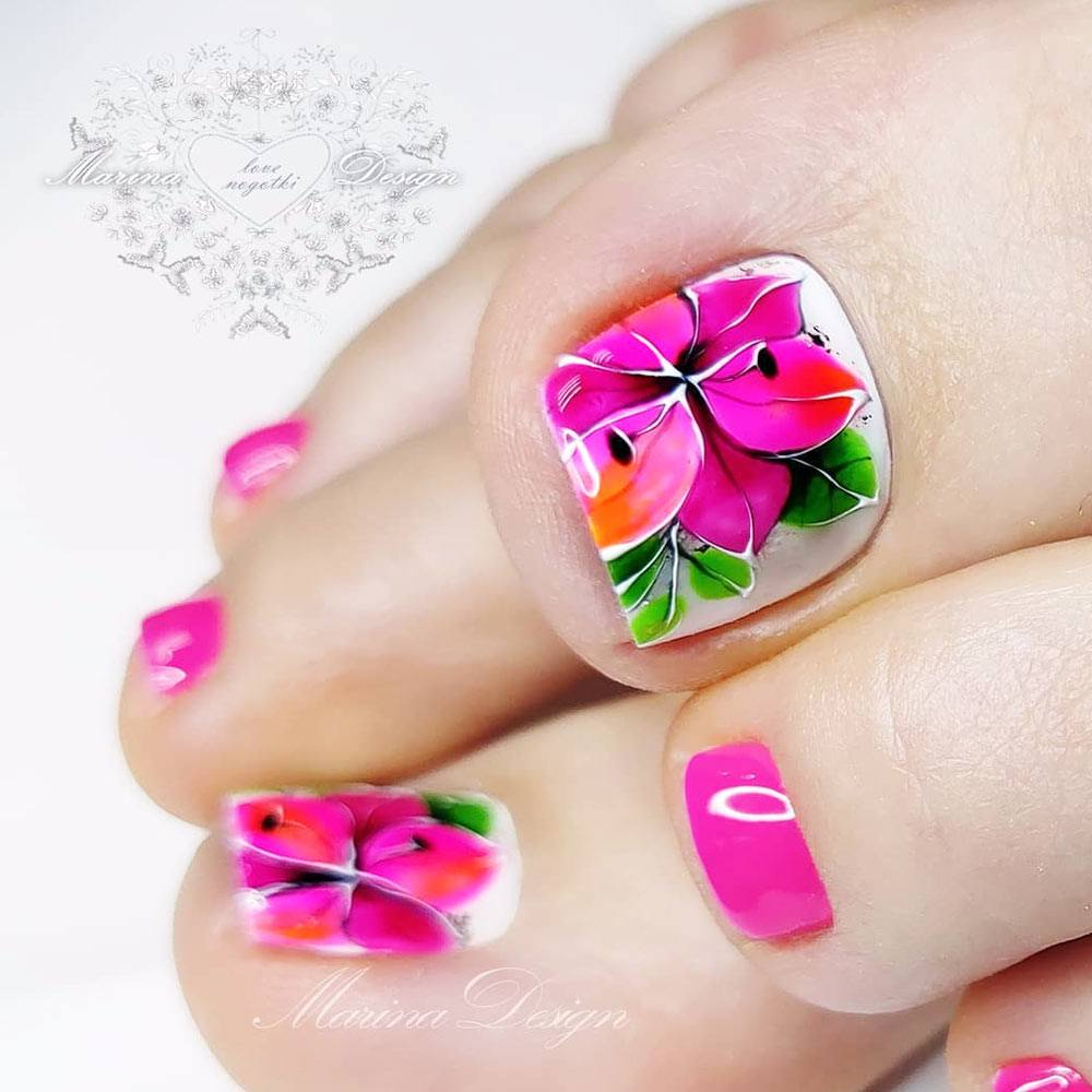 Pink Flower Toe Nails