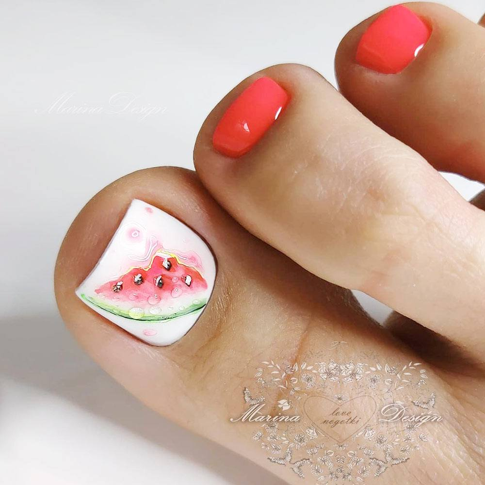 Toe Nails with Watermelon Art