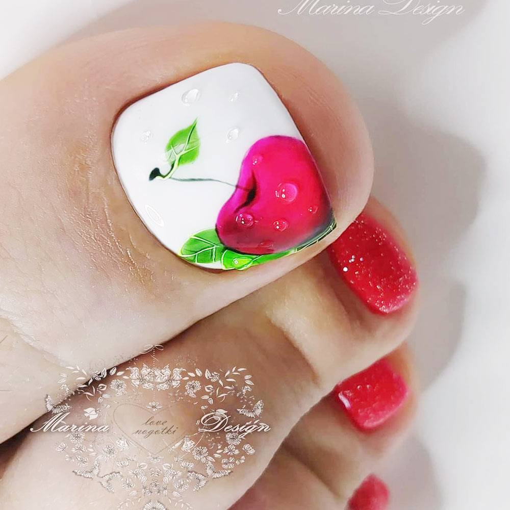 Toe Nails with Cherry Art Design