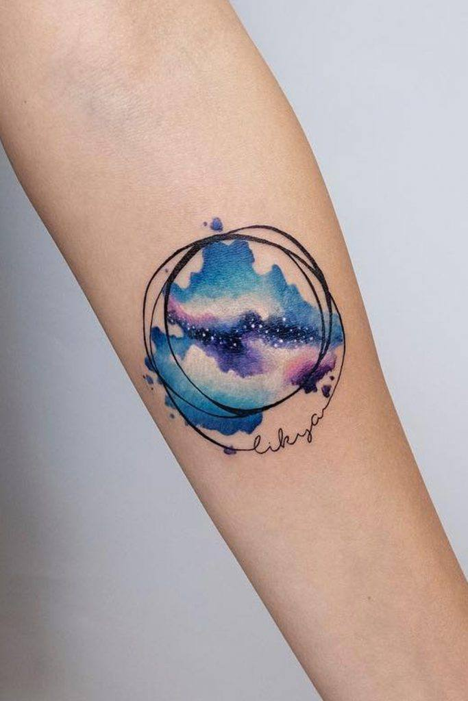 Galaxy Watercolor Tattoo with Lettering
