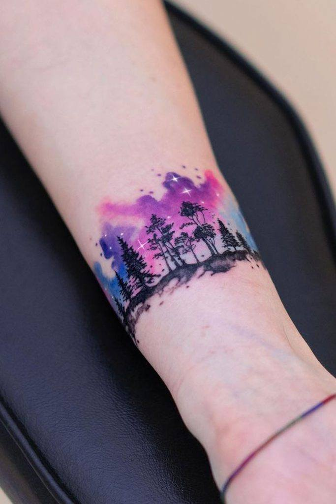 Watercolor Arm Tattoo with Galaxy Colors