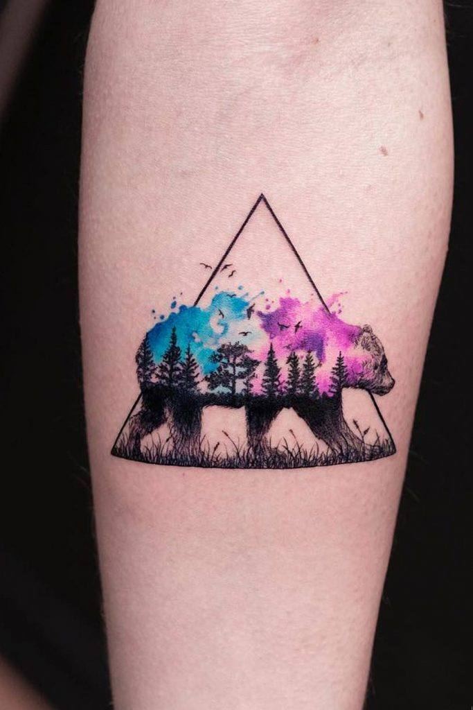 Watercolor Tattoo with Bear