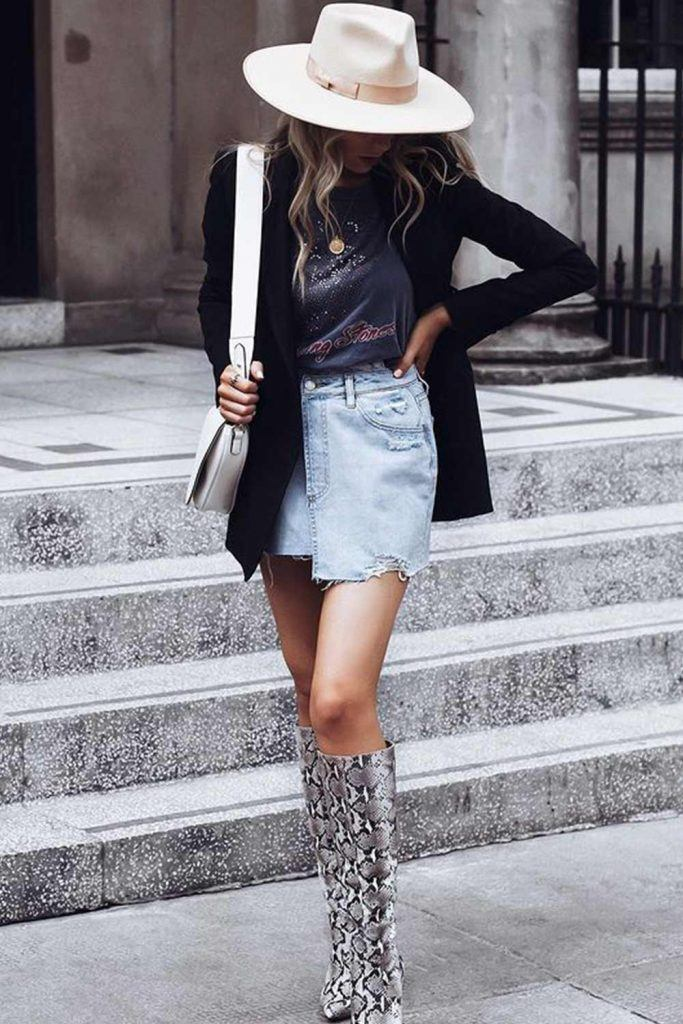 Back to School Outfits with Blazer and Denim Skirt