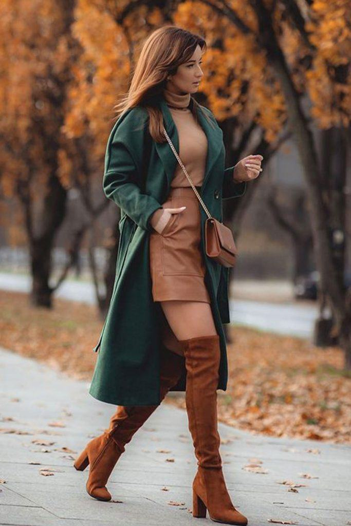 Fall Look With a Green Coat