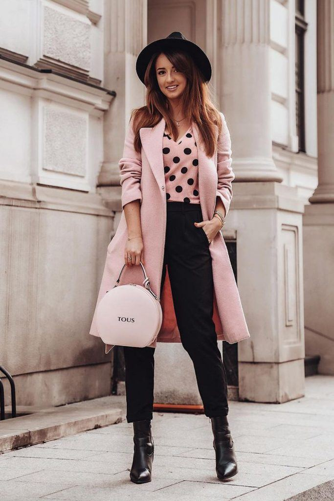 Fall Look with a Pink Coat