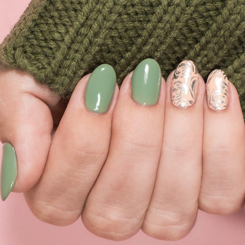 Green And Pink Stamping Nails