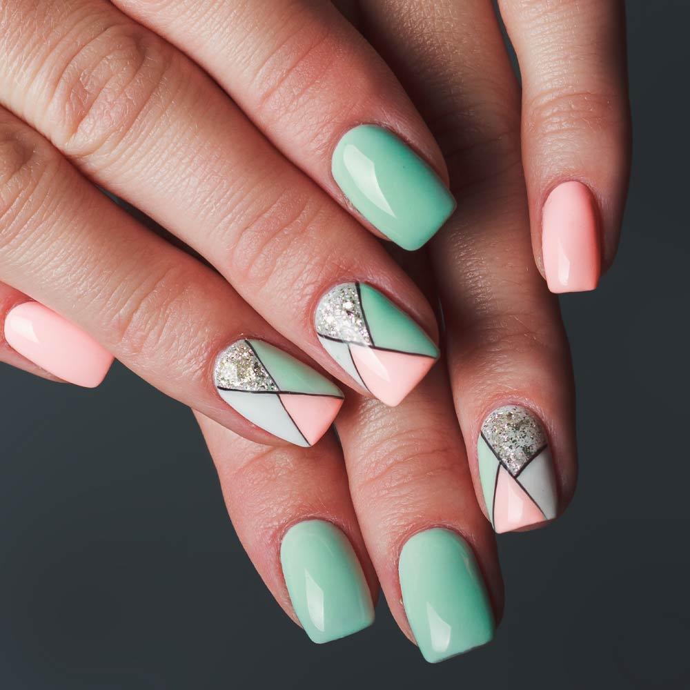 Green and Pink Nails