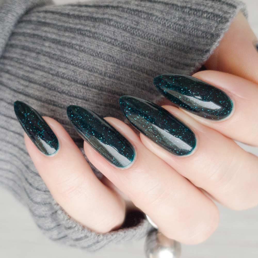Dark Green Nails with Glitter