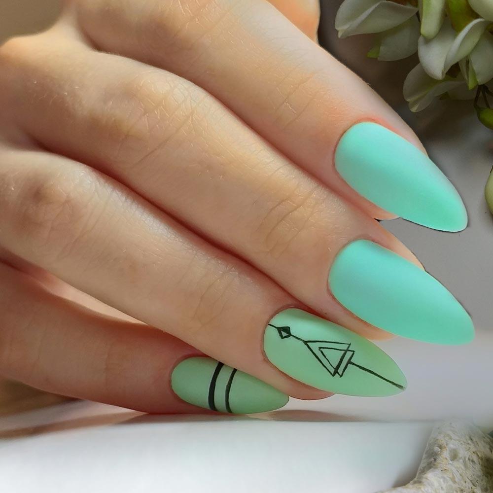 Almond Neon Green Matte Nails