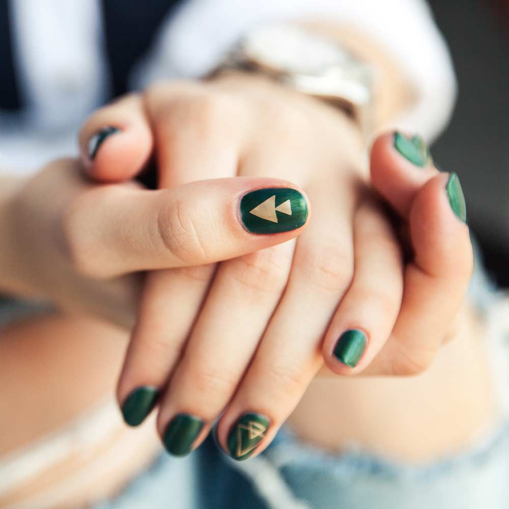 Dark Green Nails with Stamps