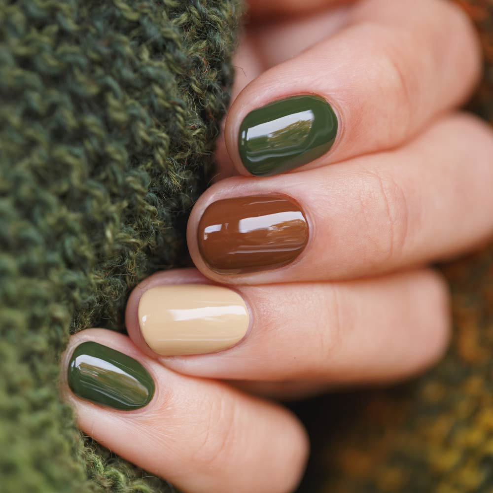 Green and Brown Nails