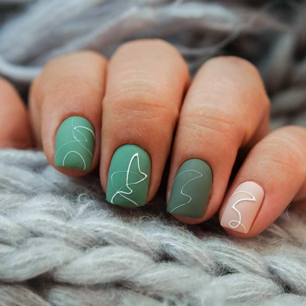 Short Matte Green Nails Design