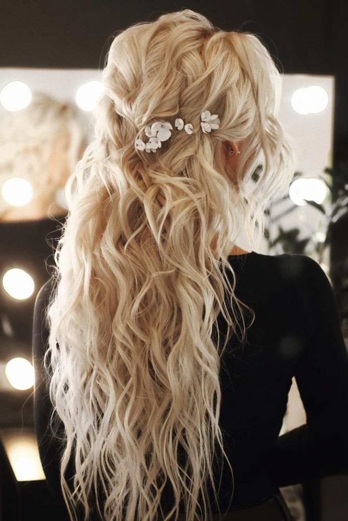 Wavy Half Up Half Down Hairstyle with Accessory