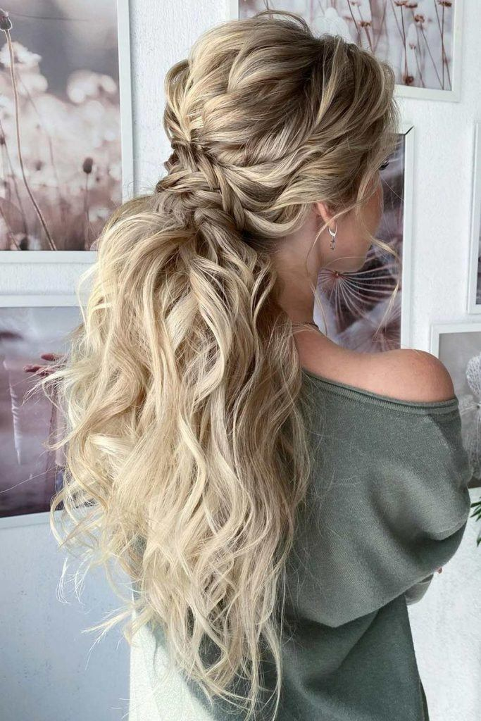 Wavy Ponytail Hairstyle with Braid