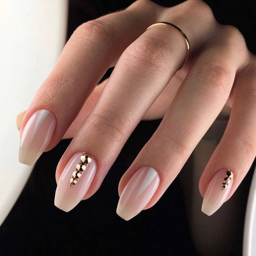 Homecoming Coffin Nails with Rhinestones