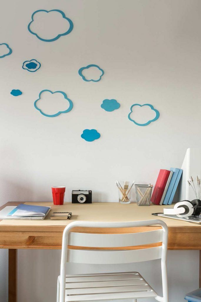 Small Kid Desk with Wall Decoration